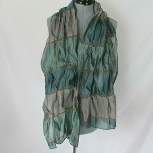 Unbranded Accessories - Silk Scarf Pearl Buttons Blue Green Sheer